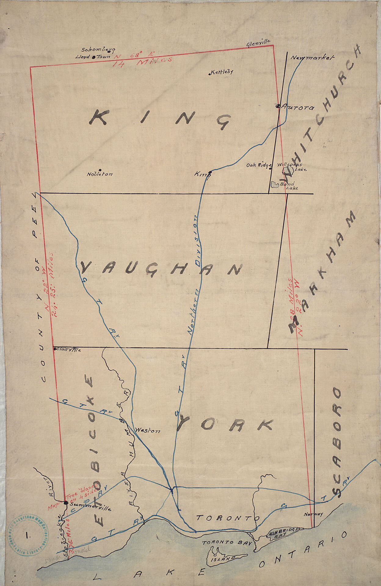 Original plan of the Toronto Purchase from the Indians, 1787-1805 TPL